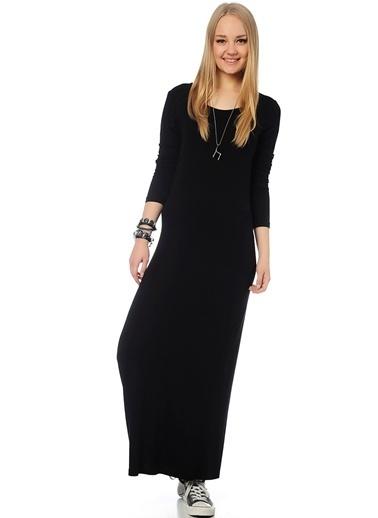 T-Box Uzun Triko Elbise Siyah